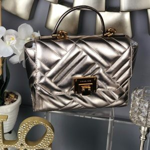 Michael Kors Metallic Vivianne Leather Satchel
